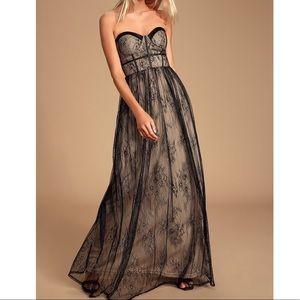 Lulu's black lace bustier strapless maxi dress L